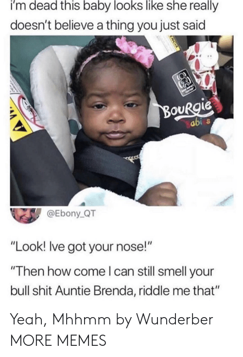"""Dank, Memes, and Shit: i'm dead this baby looks like she really  doesn't believe a thing you just said  ouRgie  abi  @Ebony_QT  """"Look! lve got your nose!""""  """"Then how come l can still smell your  bull shit Auntie Brenda, riddle me that"""" Yeah, Mhhmm by Wunderber MORE MEMES"""