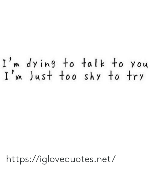 ust: I'm dying to talk to you  I'm ust too shy to try https://iglovequotes.net/