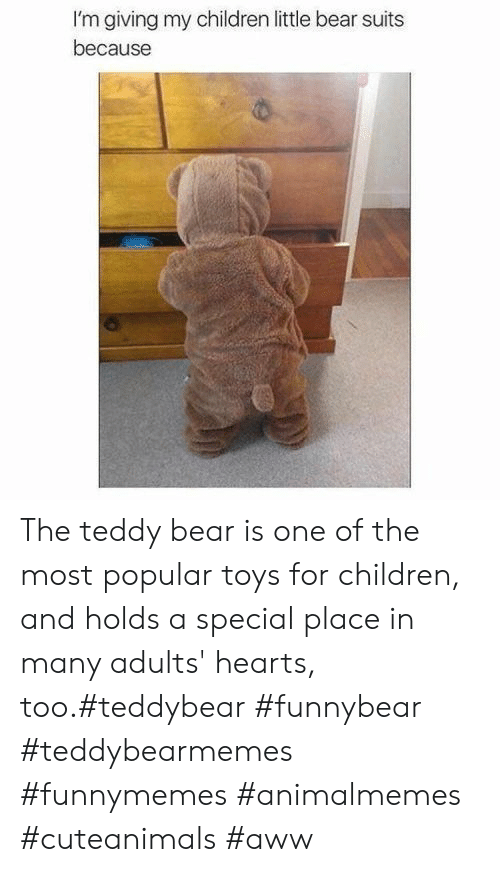 Toys: I'm giving my children little bear suits  because The teddy bear is one of the most popular toys for children, and holds a special place in many adults' hearts, too.#teddybear #funnybear #teddybearmemes #funnymemes #animalmemes #cuteanimals #aww