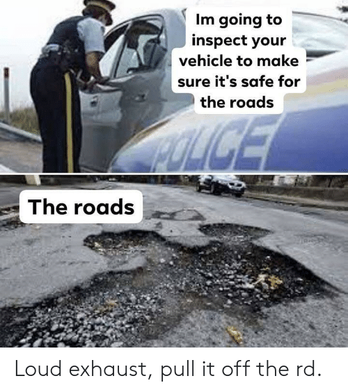 Inspect: Im going to  inspect your  vehicle to make  sure it's safe for  the roads  The roads Loud exhaust, pull it off the rd.