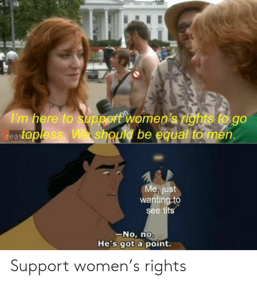 Womens: I'm here to support women's rights to go  reastopless W should be equal to men.  Me, just  wanting to  see tits  -No, no.  He's got a point. Support women's rights