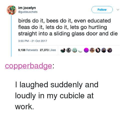 """Tumblr, Work, and Birds: im jocelyrn  @guldeuxchats  Follow  birds do it, bees do it, even educated  fleas do it, lets do it, lets go hurtling  straight into a sliding glass door and die  3:55 PM- 21 Oct 2017  9,108 Retweets 27,373 Likes  づ围  ● <p><a href=""""http://copperbadge.tumblr.com/post/174603645579/i-laughed-suddenly-and-loudly-in-my-cubicle-at"""" class=""""tumblr_blog"""">copperbadge</a>:</p> <blockquote><p style="""""""">I laughed suddenly and loudly in my cubicle at work.</p></blockquote>"""