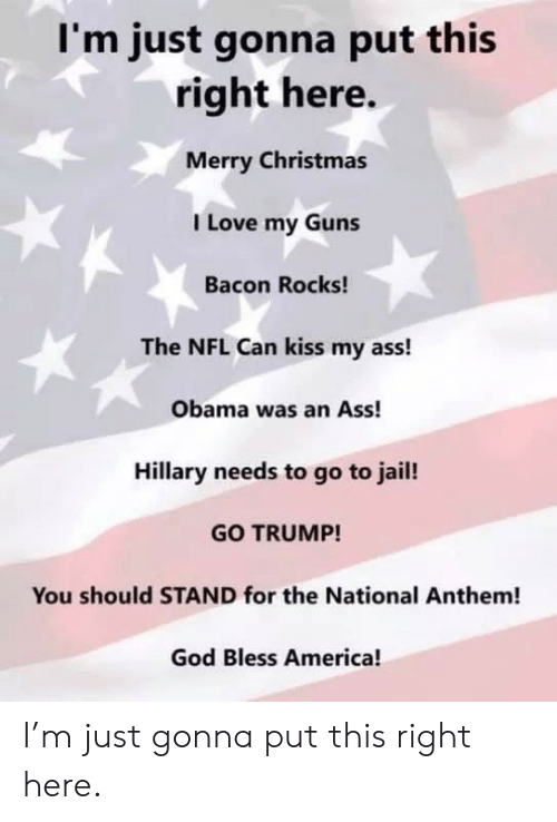 America, Ass, and Christmas: I'm just gonna put this  right here.  Merry Christmas  I Love my Guns  Bacon Rocks!  The NFL Can kiss my ass!  Obama was an Ass!  Hillary needs to go to jail!  GO TRUMP!  You should STAND for the National Anthem!  God Bless America! I'm just gonna put this right here.