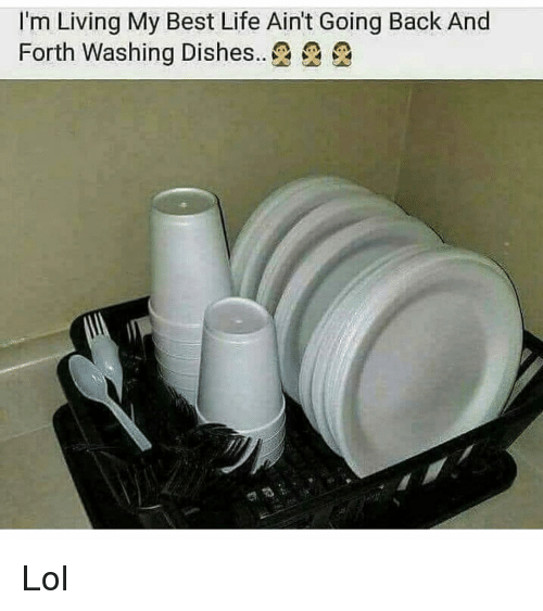 washing dishes: I'm Living My Best Life Ain't Going Back And  Forth Washing Dishes.. Lol