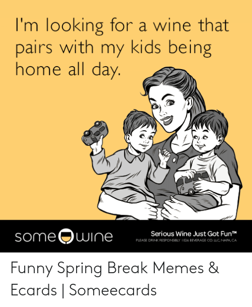 Funny Spring Memes: I'm looking for a wine that  pairs with my kids being  home all day.  someOwine  Serious Wine Just Got FunT  PLEASE DRINK RESPONSELY  026 BEVERAGE COLLC, NAPA, CA Funny Spring Break Memes & Ecards | Someecards