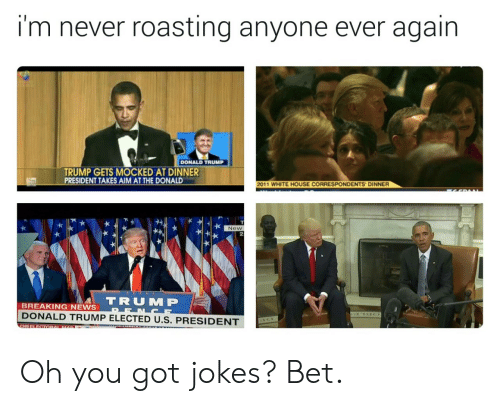 The Donald: i'm never roasting anyone ever again  DONALD TRUMP  TRUMP GETS MOCKED AT DINNER  PRESIDENT TAKES AIM AT THE DONALD  2011 WHITE HOUSE CORRESPONDENTS DINNER  New  2  TRUM P  BREAKING NEWS  DONALD TRUMP ELECTED U.S. PRESIDENT Oh you got jokes? Bet.