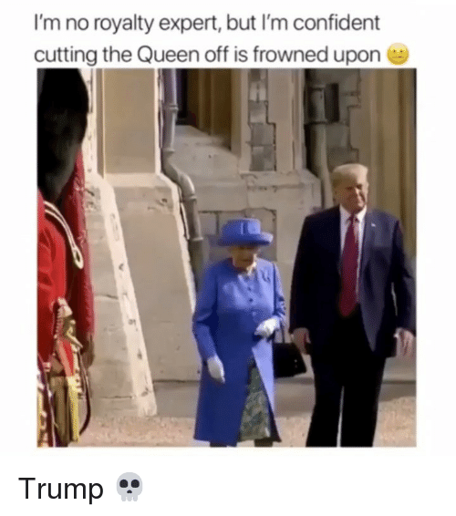 Frowned: I'm no royalty expert, but I'm confident  cutting the Queen off is frowned upon Trump 💀