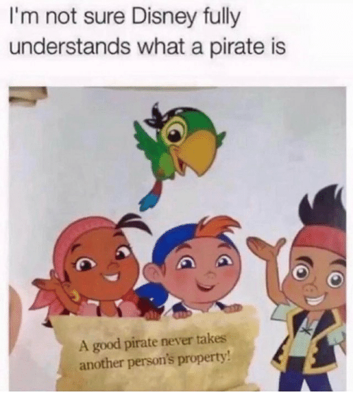 Disney, Good, and Pirate: I'm not sure Disney fully  understands what a pirate is  A good pirate never takes  another person's property