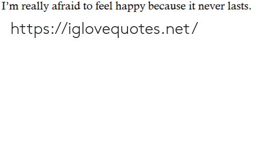 Happy, Never, and Net: I'm really afraid to feel happy because it never lasts https://iglovequotes.net/