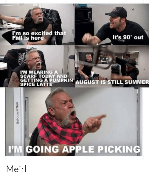 Apple, Fall, and Summer: I'm so excited that  Fall is here  It's 90 out  PM WEARING A  SCARF TODAY AND  GETTING APUMPKIN AUGUST IS STILL SUMMER  SPICE LATTE  IM GOING APPLE PICKING  @diccwaffles  Dund Meirl