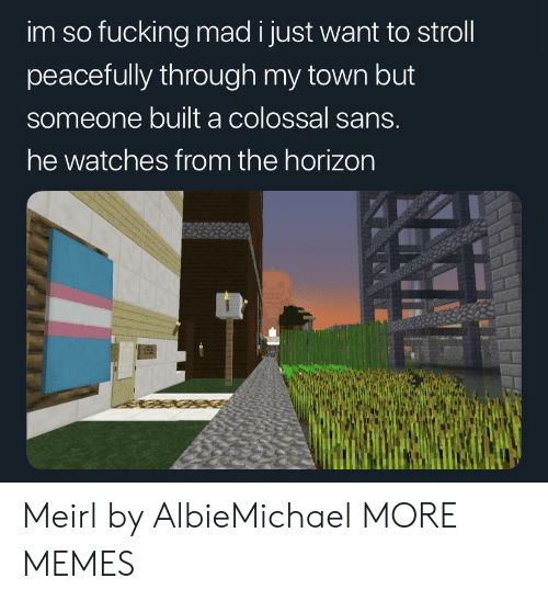 horizon: im so fucking mad i just want to stroll  peacefully through my town but  someone built a colossal sans.  he watches from the horizon Meirl by AlbieMichael MORE MEMES
