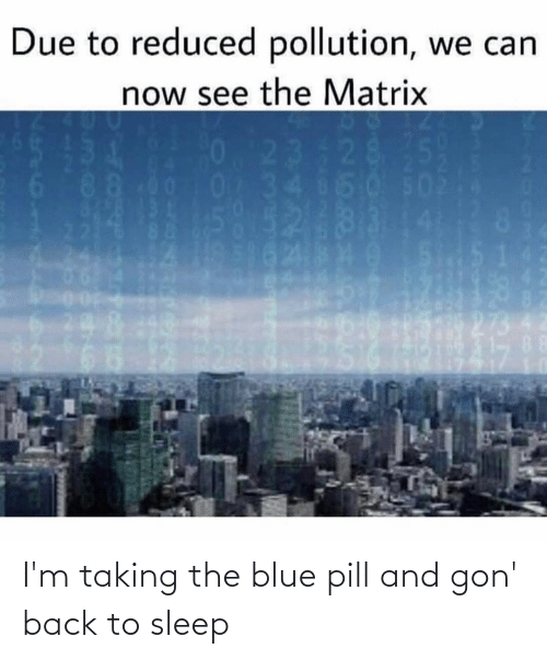 gon: I'm taking the blue pill and gon' back to sleep