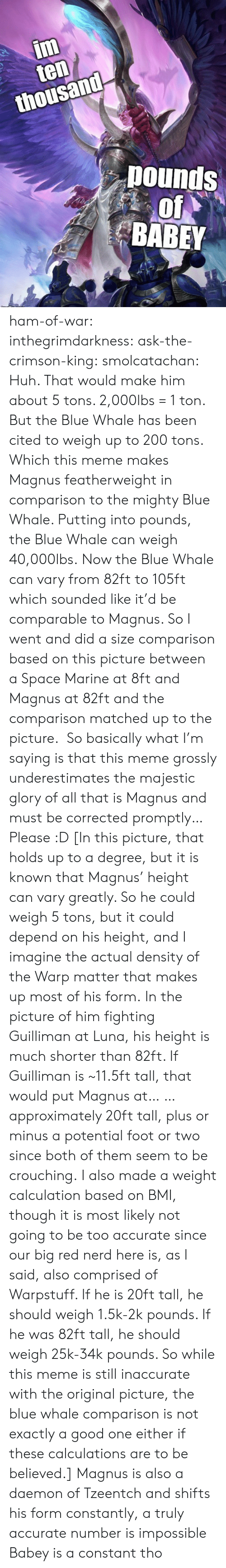 Likely: im  ten  thousand  pounds  of  BABEY ham-of-war: inthegrimdarkness:   ask-the-crimson-king:   smolcatachan:  Huh. That would make him about 5 tons. 2,000lbs = 1 ton. But the Blue Whale has been cited to weigh up to 200 tons. Which this meme makes Magnus featherweight in comparison to the mighty Blue Whale. Putting into pounds, the Blue Whale can weigh 40,000lbs. Now the Blue Whale can vary from 82ft to 105ft which sounded like it'd be comparable to Magnus. So I went and did a size comparison based on this picture between a Space Marine at 8ft and Magnus at 82ft and the comparison matched up to the picture.  So basically what I'm saying is that this meme grossly underestimates the majestic glory of all that is Magnus and must be corrected promptly…Please :D  [In this picture, that holds up to a degree, but it is known that Magnus' height can vary greatly. So he could weigh 5 tons, but it could depend on his height, and I imagine the actual density of the Warp matter that makes up most of his form. In the picture of him fighting Guilliman at Luna, his height is much shorter than 82ft. If Guilliman is ~11.5ft tall, that would put Magnus at… … approximately 20ft tall, plus or minus a potential foot or two since both of them seem to be crouching. I also made a weight calculation based on BMI, though it is most likely not going to be too accurate since our big red nerd here is, as I said, also comprised of Warpstuff. If he is 20ft tall, he should weigh 1.5k-2k pounds. If he was 82ft tall, he should weigh 25k-34k pounds. So while this meme is still inaccurate with the original picture, the blue whale comparison is not exactly a good one either if these calculations are to be believed.]   Magnus is also a daemon of Tzeentch and shifts his form constantly, a truly accurate number is impossible    Babey is a constant tho
