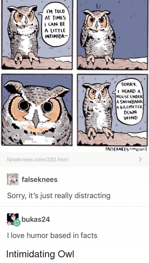 """Distracting: IM TOLD  AT TIMES  I CAN BE  A LITTLE  SORRY  HEARD A  MOUSE UNDER  """" IA KILOMETER  DOWN  WIND  falseknees.com/292.html  falseknees  Sorry, it's just really distracting  bukas24  I love humor based in facts Intimidating Owl"""