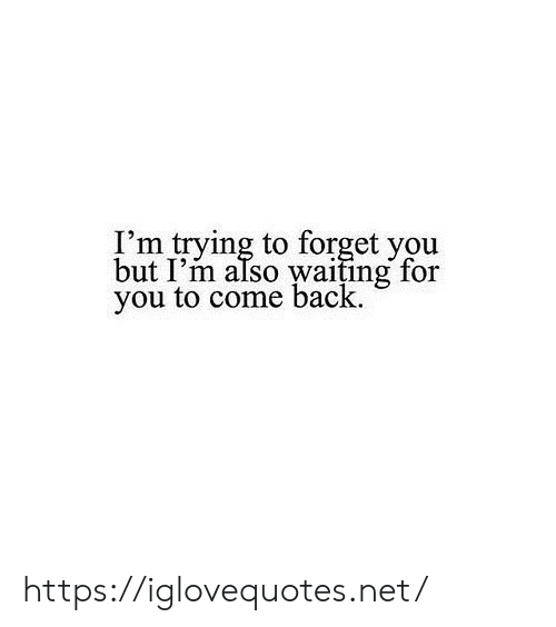 Waiting..., Back, and Net: I'm trying to forget you  but I'm also waiting for  you to come back https://iglovequotes.net/