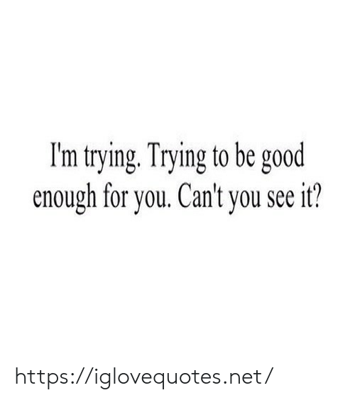 Good, Net, and You: I'm trying. Trying to be good  enough for you. Can't you see it? https://iglovequotes.net/