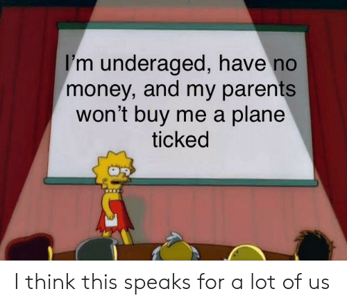Money, Parents, and Dank Memes: I'm underaged, have no  money, and my parents  won't buy me a plane  ticked I think this speaks for a lot of us