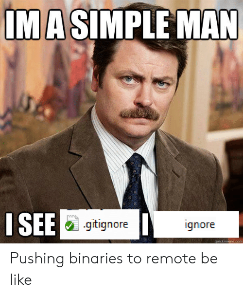 Be Like, Simple, and Com: IMA SIMPLE MAN  ISEE  .gitignore  ignore  quickmeme.com Pushing binaries to remote be like