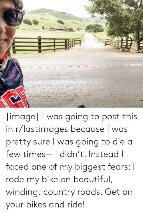 bikes: [image] I was going to post this in r/lastimages because I was pretty sure I was going to die a few times— I didn't. Instead I faced one of my biggest fears: I rode my bike on beautiful, winding, country roads. Get on your bikes and ride!