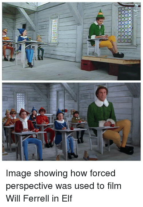 ferrell: Image showing how forced perspective was used to film Will Ferrell in Elf