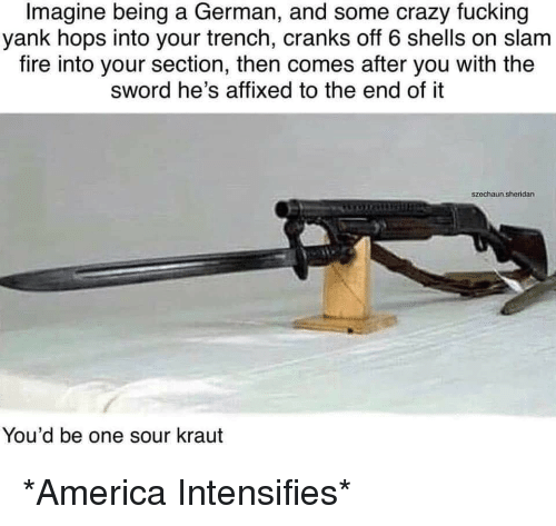 the sword: Imagine being a German, and some crazy fucking  yank hops into your trench, cranks off 6 shells on slam  fire into your section, then comes after you with the  sword he's affixed to the end of it  szechaun.sheridan  You'd be one sour kraut *America Intensifies*