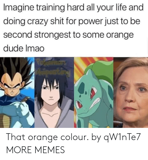 Colour: Imagine training hard all your life and  doing crazy shit for power just to be  second strongest to some orange  dude Imao That orange colour. by qW1nTe7 MORE MEMES