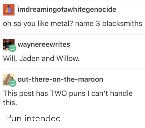 willow: imdreamingofawhitegenocide  oh so you like metal? name 3 blacksmiths  waynereewrites  Will, Jaden and Willow.  out-there-on-the-maroon  This post has TWO puns I can't handle  this. Pun intended