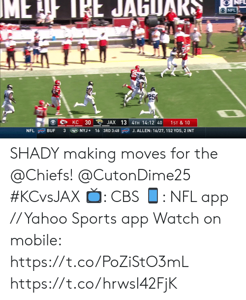 Memes, Nfl, and Sports: IME  IEE JAGUAR  O NFL  25  30  JAX 13 4TH 14:12 40  KC  1ST & 10  NYJ 16 3RD 3:48  J. ALLEN: 16/27, 152 YDS, 2 INT  NFL  BUF SHADY making moves for the @Chiefs! @CutonDime25 #KCvsJAX  📺: CBS 📱: NFL app // Yahoo Sports app  Watch on mobile: https://t.co/PoZiStO3mL https://t.co/hrwsl42FjK
