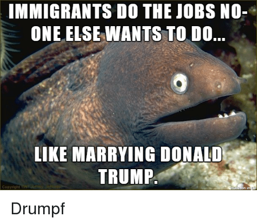 Donald Trump, Immigration, and Jobs: IMMIGRANTS DO THE JOBS NO-  ONE ELSE WANTS TO DO..  LIKE MARRYING DONALD  TRUMP Drumpf