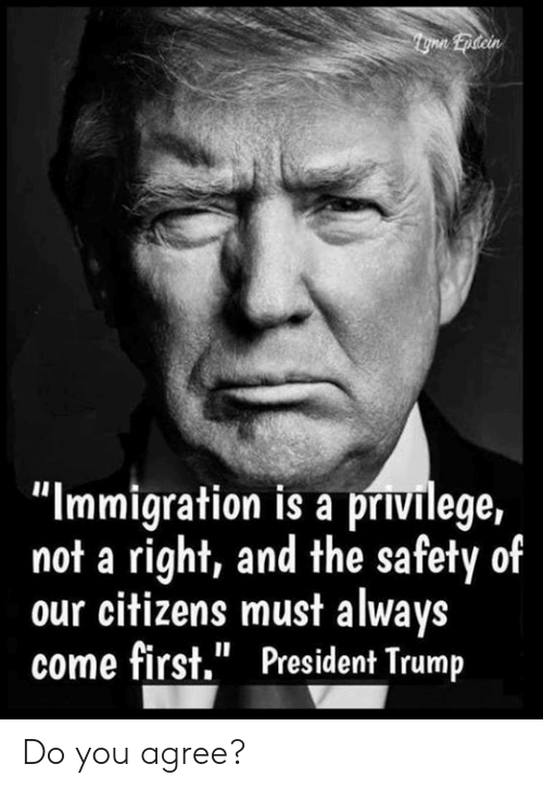"""Memes, Immigration, and Trump: """"Immigration is a privilege,  not a right, and the safety of  our citizens must always  come first."""" President Trump Do you agree?"""