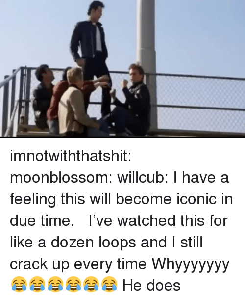 loops: imnotwiththatshit:  moonblossom:  willcub:  I have a feeling this will become iconic in due time.   I've watched this for like a dozen loops and I still crack up every time   Whyyyyyyy 😂😂😂😂😂😂   He does