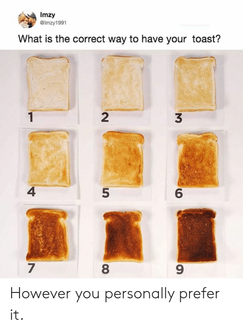 5 6 7 8: Imzy  GImzy1991  What is the correct way to have your toast?  2  3  4  5  6  7  8  9 However you personally prefer it.
