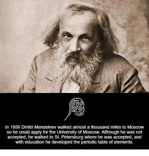 Memes, Period, and 🤖: In 1850 Dmitri Mendeleev walked almost a thousand miles to Moscow  so he could apply for the University of  Moscow. Although he was not  accepted, he walked to St. Petersburg where he was accepted, and  with education he developed the periodic table of elements.