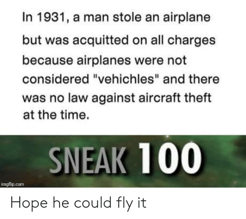 """Anaconda, Airplane, and Time: In 1931, a man stole an airplane  but was acquitted on all charges  because airplanes were not  considered """"vehichles"""" and there  was no law against aircraft theft  at the time.  SNEAK 100  imgflip.com Hope he could fly it"""