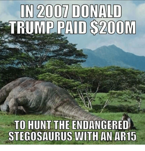 Donald Trump, Trump, and Stegosaurus: IN 2007 DONALD  TRUMP PAID $20OM  TO HUNT THE ENDANGERED  STEGOSAURUS WITH AN AR1S