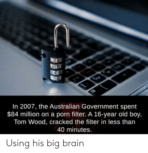 filter: In 2007, the Australian Government spent  $84 million on a porn filter. A 16-year old boy,  Tom Wood, cracked the filter in less than  40 minutes. Using his big brain