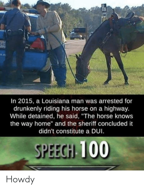 """Home, Horse, and Louisiana: In 2015, a Louisiana man was arrested for  drunkenly riding his horse on a highway.  While detained, he said, """"The horse knows  the way home"""" and the sheriff concluded it  didn't constitute a DUI  SPEECH 100 Howdy"""