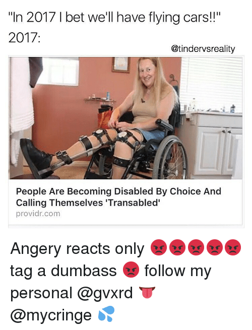 "Bet Well Have Flying Cars: ""In 2017 I bet well have flying cars!!""  2017:  @tindervsreality  People Are Becoming Disabled By Choice And  Calling Themselves 'Transabled'  providr.com Angery reacts only 😡😡😡😡😡 tag a dumbass 😡 follow my personal @gvxrd 👅 @mycringe 💦"