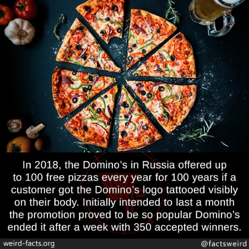 Winners: In 2018, the Domino's in Russia offered up  to 100 free pizzas every year for 100 years if a  customer got the Domino's logo tattooed visibly  on their body. Initially intended to last a month  the promotion proved to be so popular Domino's  ended it after a week with 350 accepted winners  weird-facts.org  @factsweird