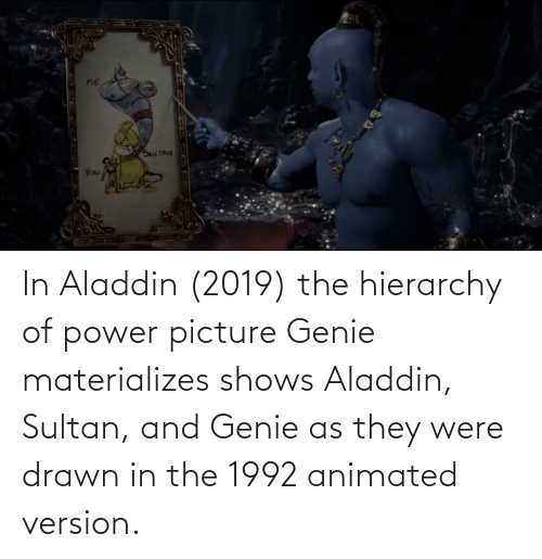 Aladdin: In Aladdin (2019) the hierarchy of power picture Genie materializes shows Aladdin, Sultan, and Genie as they were drawn in the 1992 animated version.