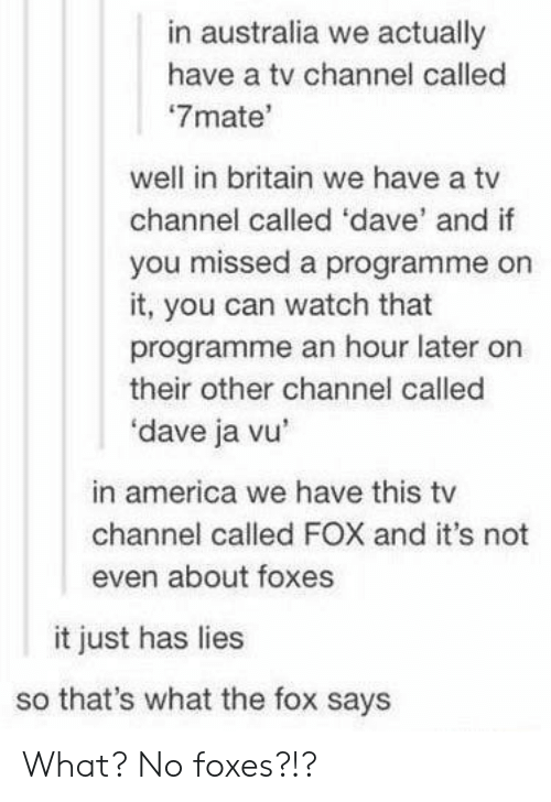 tv channel: in australia we actually  have a tv channel called  7mate'  well in britain we have a tv  channel called 'dave' and if  you missed a programme on  it, you can watch that  programme an hour later on  their other channel called  'dave ja vu  in america we have this tv  channel called FOX and it's not  even about foxes  it just has lies  so that's what the fox says What? No foxes?!?