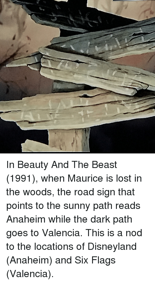 Disneyland, Lost, and Beauty and the Beast: In Beauty And The Beast (1991), when Maurice is lost in the woods, the road sign that points to the sunny path reads Anaheim while the dark path goes to Valencia. This is a nod to the locations of Disneyland (Anaheim) and Six Flags (Valencia).