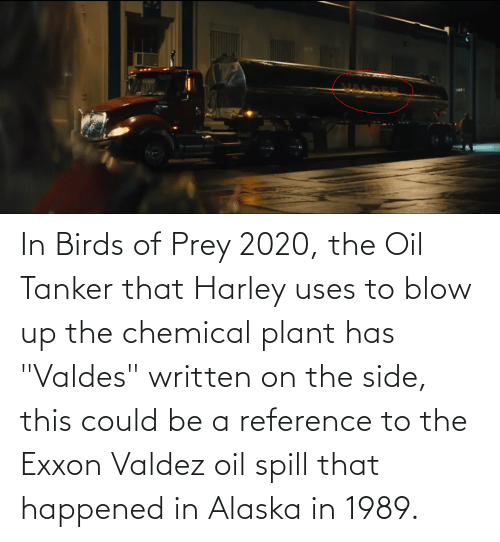 """Harley: In Birds of Prey 2020, the Oil Tanker that Harley uses to blow up the chemical plant has """"Valdes"""" written on the side, this could be a reference to the Exxon Valdez oil spill that happened in Alaska in 1989."""