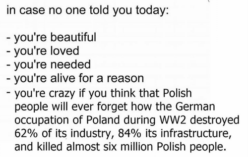 industrious: in case no one told you today:  you're beautiful  you're loved  you're needed  you're alive for a reason  you're crazy if you think that Polish  people will ever forget how the German  occupation of Poland during WW2 destroyed  62% of its industry, 84% its infrastructure,  and killed almost six million Polish people.