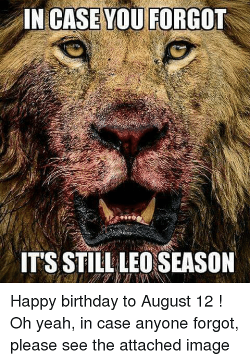 Leo Season: IN CASE YOU FORGOT  IT'S STILL LEO SEASON Happy birthday to August 12 !   Oh yeah, in case anyone forgot, please see the attached image