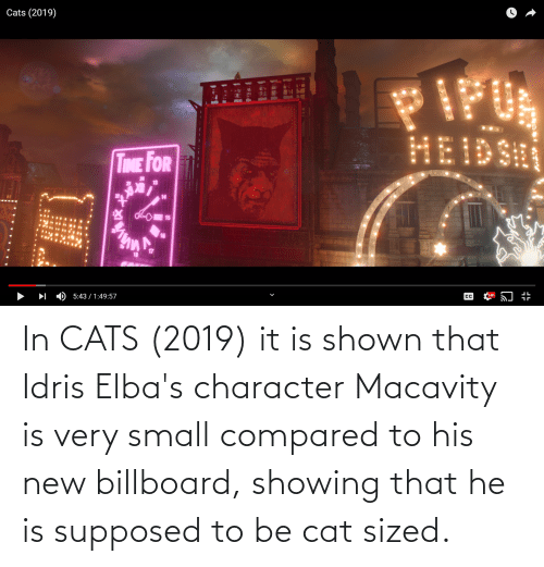 Billboard: In CATS (2019) it is shown that Idris Elba's character Macavity is very small compared to his new billboard, showing that he is supposed to be cat sized.