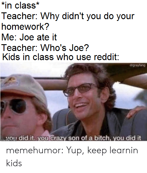 Your Homework: *in class*  Teacher: Why didn't you do your  homework?  Me: Joe ate it  Teacher: Who's Joe?  Kids in class who use reddit:  drgrayfang  ou Crazy son of a bitch, you did it  did  imaflin com memehumor:  Yup, keep learnin kids