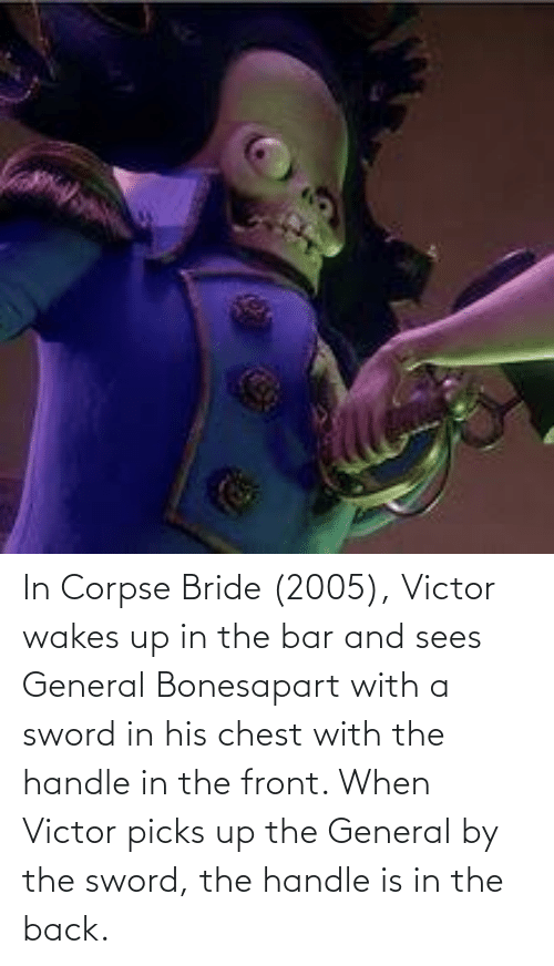 the sword: In Corpse Bride (2005), Victor wakes up in the bar and sees General Bonesapart with a sword in his chest with the handle in the front. When Victor picks up the General by the sword, the handle is in the back.
