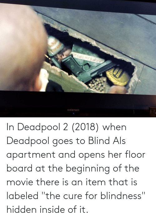 """Deadpool: In Deadpool 2 (2018) when Deadpool goes to Blind Als apartment and opens her floor board at the beginning of the movie there is an item that is labeled """"the cure for blindness"""" hidden inside of it."""