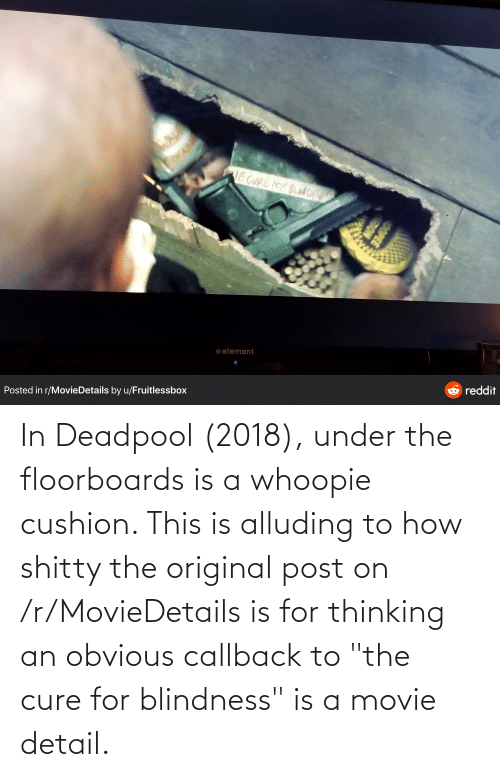 """Deadpool: In Deadpool (2018), under the floorboards is a whoopie cushion. This is alluding to how shitty the original post on /r/MovieDetails is for thinking an obvious callback to """"the cure for blindness"""" is a movie detail."""